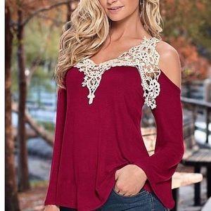 Brand new Venus Cream cold shoulder shirt